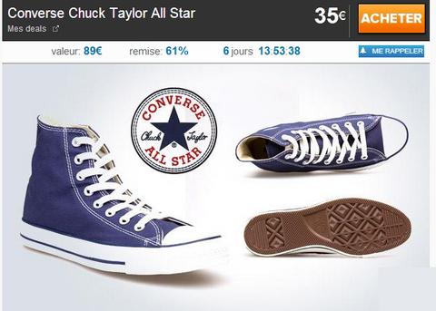 Réduction: Converse Chuck Taylor All Star à 35€ au lieu de ...