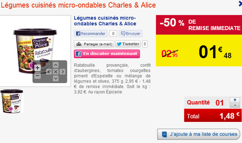 Carrefour plats cuisin s micro ondables charles alice - Plats cuisines carrefour ...