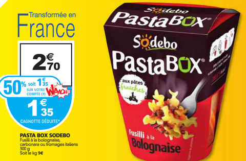 Auchan : Pasta Box Sodebo à 0,75€ au lieu de 2,70€ (optimisation)