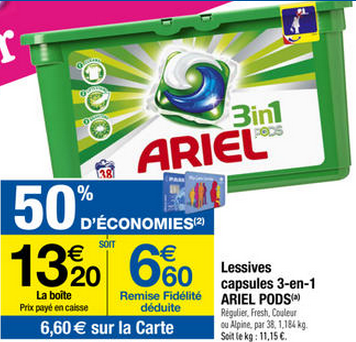 Ariel Pods 3 en 1 promotion carrefour
