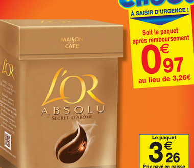 Carrefour Market : Le paquet de café moulu l'Or Absolu secret d'Arôme 250g à 0,47€ au lieu de 3,26€ (optimisation).