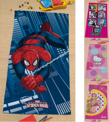 Draps de bain Hello Kitty, monster high Spiderman pas cher