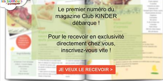 Kinder: 1er magazine papier du Club KINDER offert gratuitement