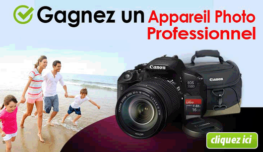 concours gratuit 1 appareil photo professionnel canon. Black Bedroom Furniture Sets. Home Design Ideas