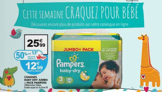 auchan changes pampers jusqu 39 50 de r duction. Black Bedroom Furniture Sets. Home Design Ideas