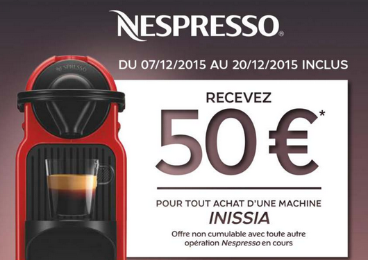 remboursement machine caf nespresso inissia maximum chantillons. Black Bedroom Furniture Sets. Home Design Ideas