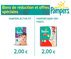 pampers 2 bons de r duction de 2 imprimer maximum chantillons. Black Bedroom Furniture Sets. Home Design Ideas