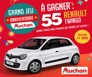 grand jeu anniversaire 55 ans auchan 55 renault twingo life gagner maximum chantillons. Black Bedroom Furniture Sets. Home Design Ideas
