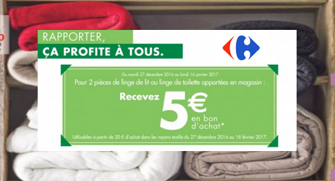 carrefour reprise de linge de lit ou linge de toilette 5 en bon d 39 achat offerts maximum. Black Bedroom Furniture Sets. Home Design Ideas