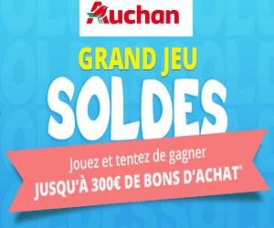 auchan grand jeu sp cial soldes jusqu 39 300 en bon d 39 achat gagner maximum chantillons. Black Bedroom Furniture Sets. Home Design Ideas
