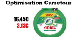 Carrefour : Lessive Ariel Pods 3en1 à 3.13€ au lieu de 16.45€ (Optimisation)