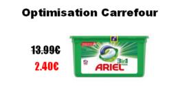 Carrefour : Lessive Ariel 3 en 1 Pods à 2.40€ au lieu de 13.99€ (Optimisation)