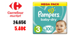 Carrefour Market : Changes Pampers Baby-Dry à 5.40€ au lieu de 24.65€ (Optimisation)