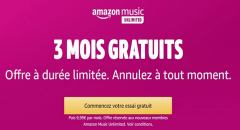 Bon Plan : Amazon Music Unilimited Gratuit pendant 3 Mois