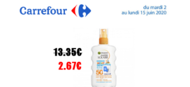 Carrefour : Spray solaire kids protection SPF50+ GARNIER à 2.67€ au lieu de 13.35€
