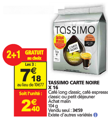Tassimo reduction Auchan