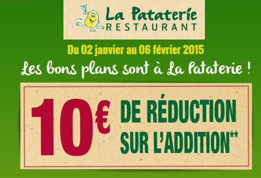 La Pataterie 10 euros de réduction