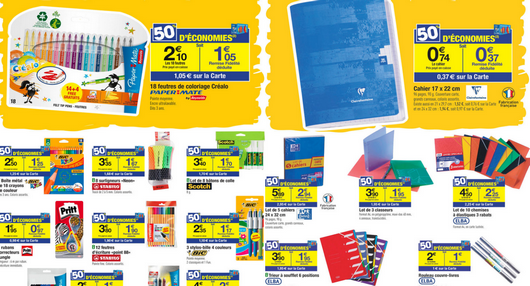 Carrefour promotion fournitures scolaires