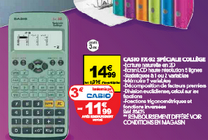 Casio FX 92 réduction auchan