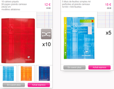 Vente Privée clairefontaine promotion fournitures scolaires